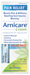 Boiron Arnicare Cream 2.5 oz Value Pack w/ Arnica 30C Blue Tube