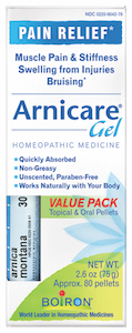 Boiron Arnicare Gel 2.6 oz Value Pack w/ Arnica 30C Blue Tube
