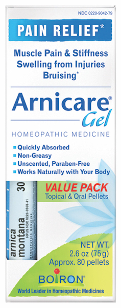 Boiron Arnicare Gel 2.6 oz Value Pack w/ Arnica 30C Blue Tube - Click Image to Close