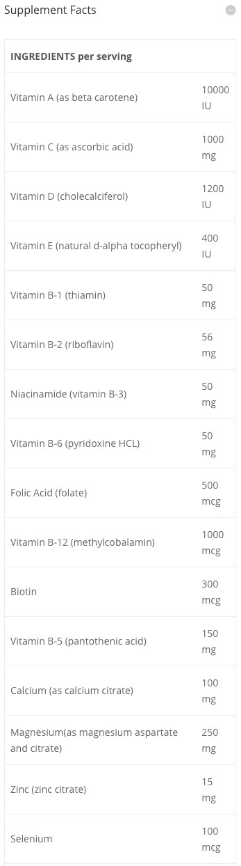 Supplement Facts chart from Buried Treasure Nutripac Whole Food Multi product label