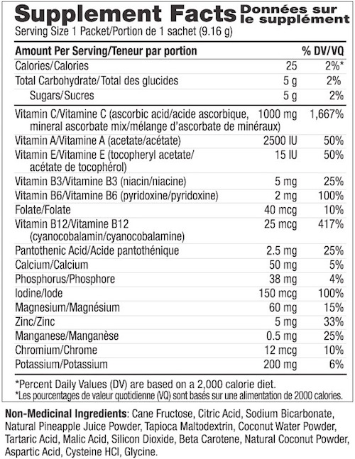 Supplement Facts chart from Ener-C Pineapple Coconut vitamin drink mix product label