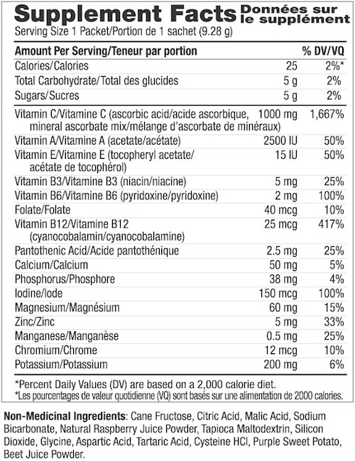 Supplement Facts chart from Ener-C Raspberry vitamin drink mix product label