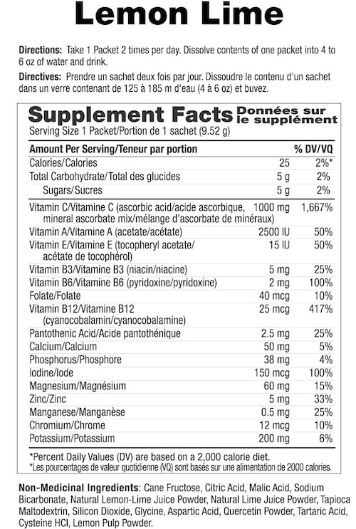 Supplement Facts chart from Ener-C Lemon Lime vitamin drink mix product label