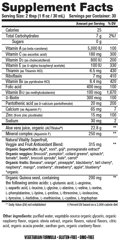Supplement Facts chart from Natural Vitality Organic Life Vitamins product label