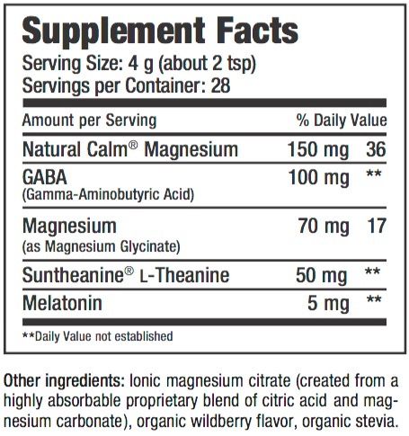 Supplement Facts chart from Natural Vitality Natural Calm Specifics Calmful Sleep product label