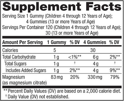 Supplement Facts chart from Natural Vitality Calm Gummies Orange product label