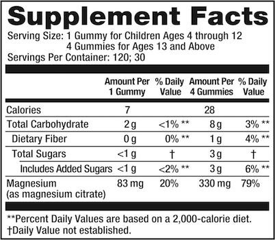 Supplement Facts chart from Natural Vitality Calm Gummies Raspberry Lemon product label