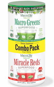 MacroLife Naturals Macro Greens and Miracle Reds Combo Pack 2 oz