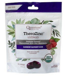 Quantum Health TheraZinc Organic Lozenges Elderberry Raspberry