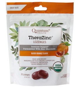 Quantum Health TheraZinc Organic Lozenges Blood Orange